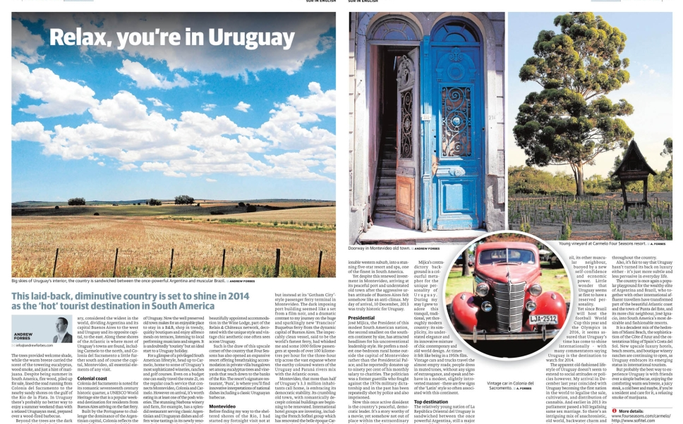 Uruguay set to be top destination for 2014 by Andrew Forbes