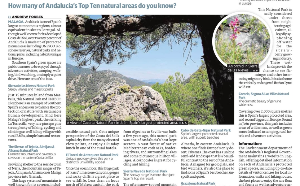 Go Wild in Southern Spain How many of Andalucía's Top Ten natural areas do you know?