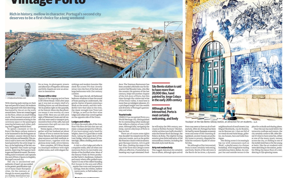 Andrew Forbes Travel Feature on Porto, Oporto, Portugal