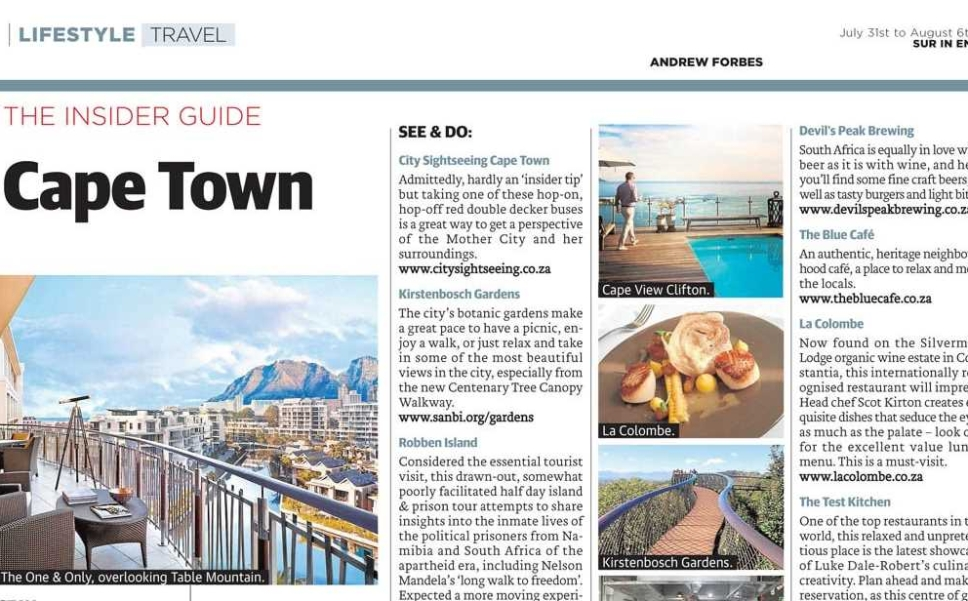 Sample of Cape Town Insider Guide Article by Andrew Forbes