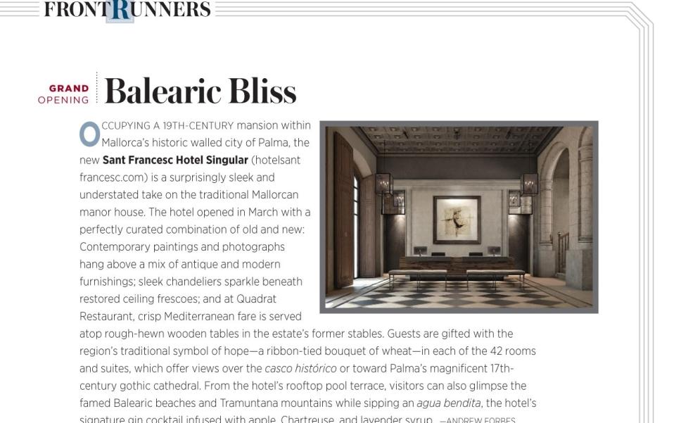 Robb Report Hotel Sant Francesc A Forbes