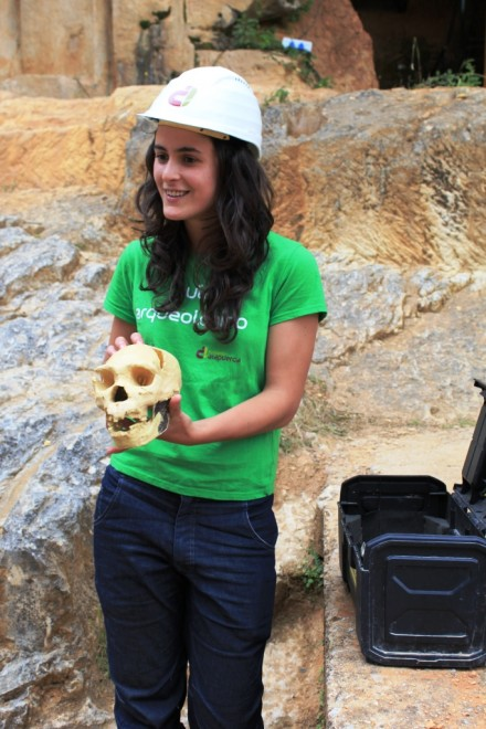 Isobel archaeologist at Atapuerca, Burgos, Spain