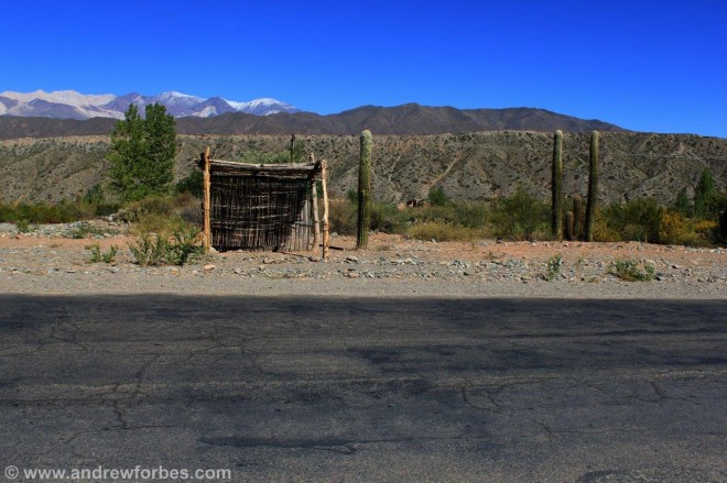 Rustic bus stop on the road out fo Cachi Salta Argentina