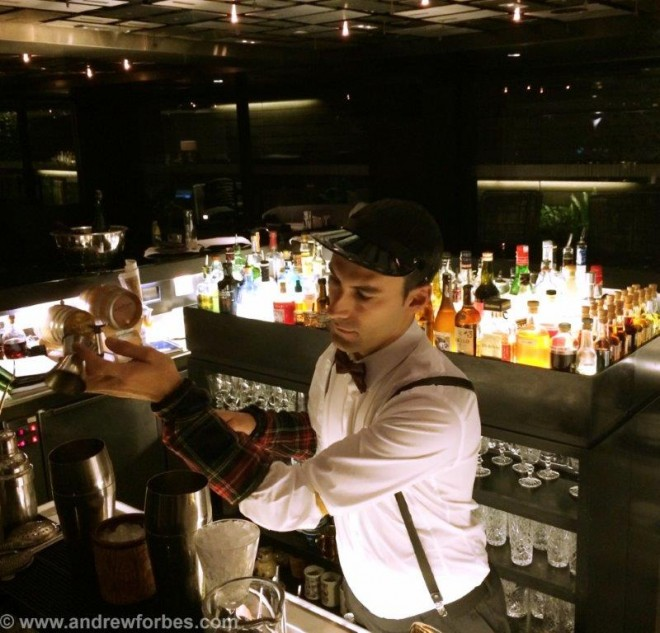 Barman in Bankers Bar Mandarin Oriental Barcelona