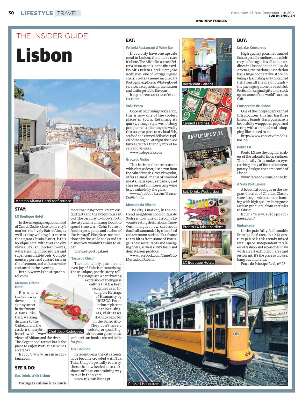 INSIDER GUIDE LISBON BY ANDREW FORBES
