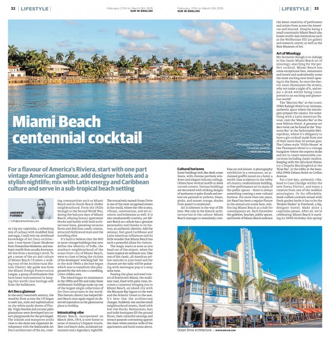 Miami Beach Centennial Cocktail Andrew Forbes Travel Feature