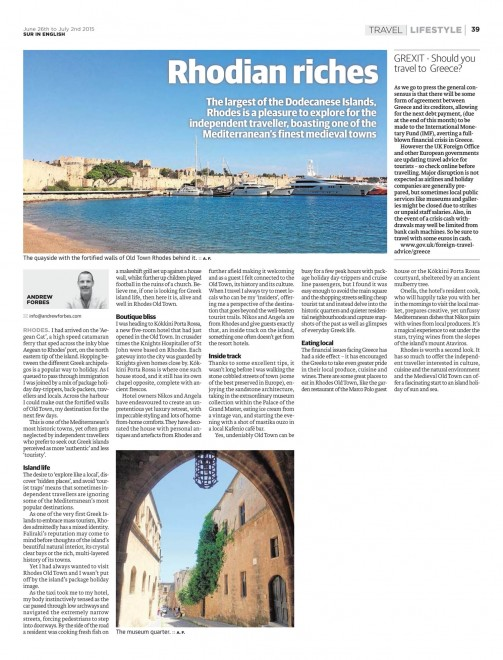 Rhodian Riches - Rhodes Travel Feature Andrew Forbes
